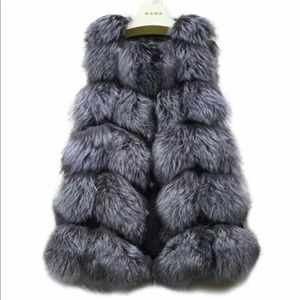 OSINA faux fur silver fox gilet fur vest US sz XL